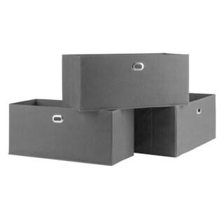 Torino 3-Pc Set Folding Fabric Baskets Black