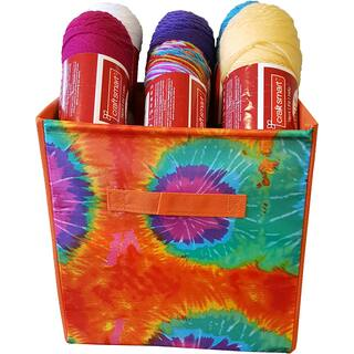 "Yarn & Craft Storage Cube 12""X12""X12""-Orange Tie Dyed|https://ak1.ostkcdn.com/images/products/15390504/P21849083.jpg?impolicy=medium"