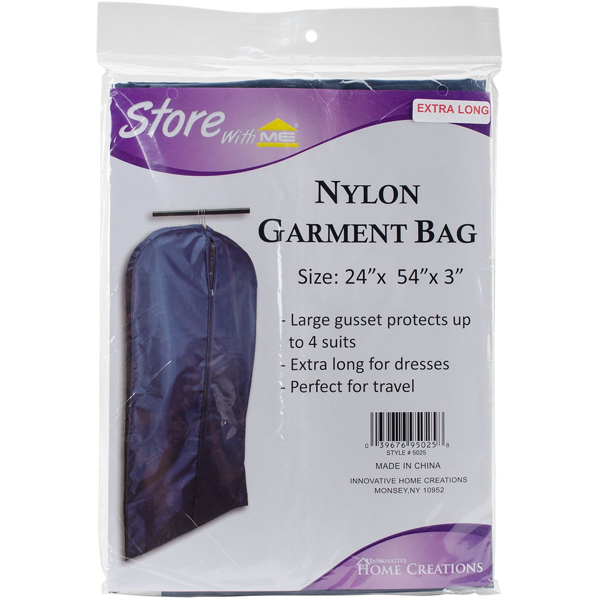 Innovative Home Creations Nylon Garment Bag-Black (Black)