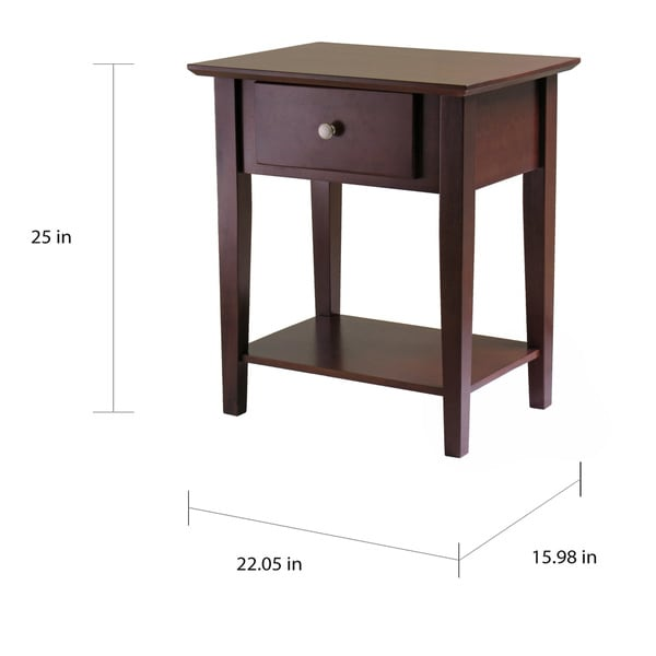 Shaker Walnut Wood Night Stand/End Table