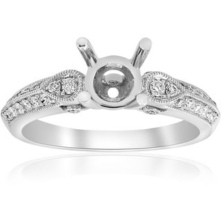 18K White Gold 1/3 ct TW Diamond Vintage Engagement Ring Setting Semi Mount (F-G,VS1-VS2)