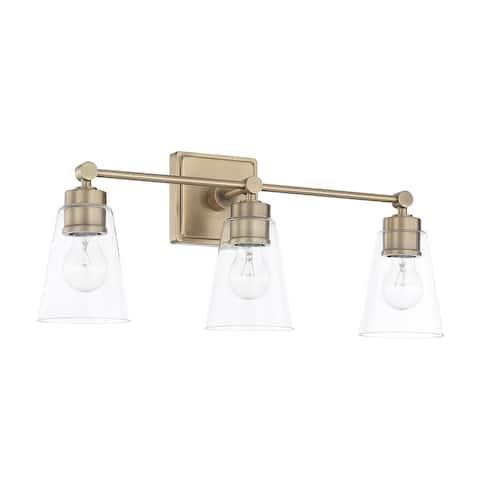 3-light Aged Brass Bath/Vanity Fixture