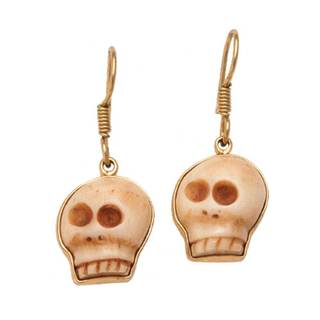 Handmade Alchemia Bone Skull Drop Earrings (Mexico)