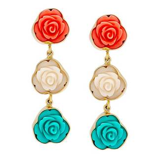 Handmade Alchemia Resin Rose Triple Post Earrings (Mexico) - Multi