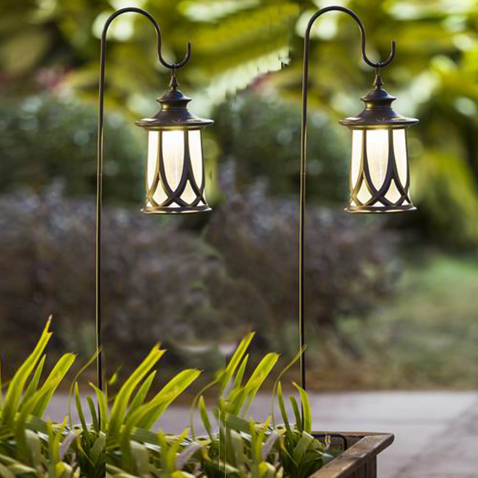 Set of 2 Traditional Solar Lanterns with Shepherd's Hooks...