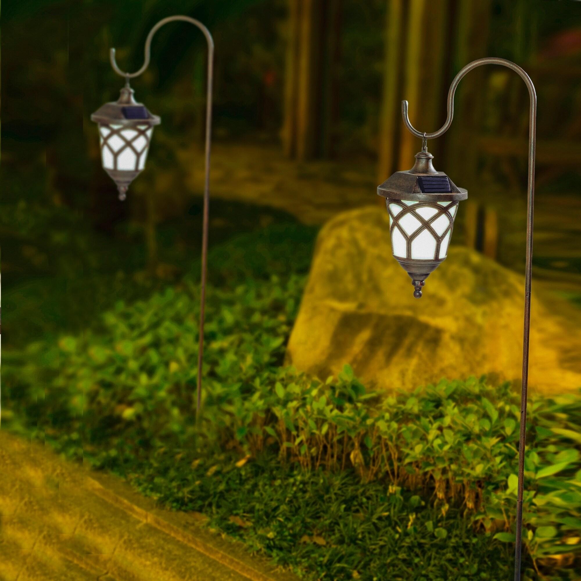 Set of 2 Hanging Solar Lanterns with Shepherd's Hooks (SE...
