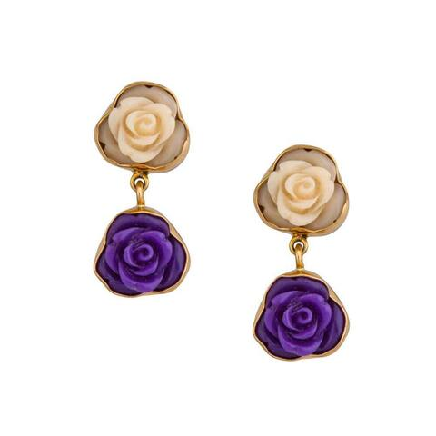 Handmade Alchemia Resin Floral Post Earrings (Mexico) - Gold/ Yellow
