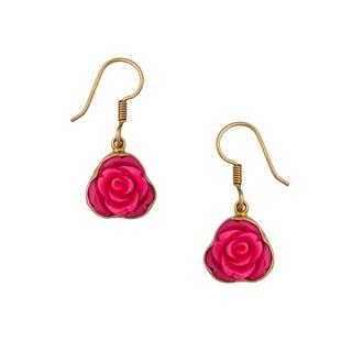 Handmade Alchemia Pink Resin Rose Drop Earrings (Mexico)