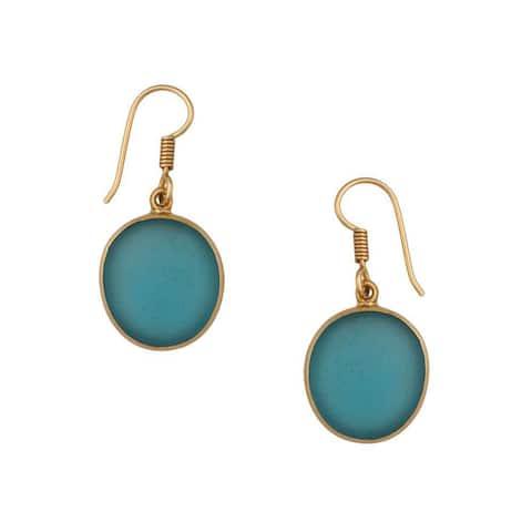 Handmade Alchemia Blue Tumbled Glass Drop Earrings (Mexico)