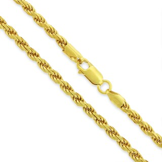 .925 Sterling Silver 3.5mm Solid Rope Diamond Cut Yellow Gold Plated Chain Necklace