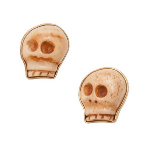 Handmade Alchemia Bone Carved Skull Post Earrings (Mexico) - Gold