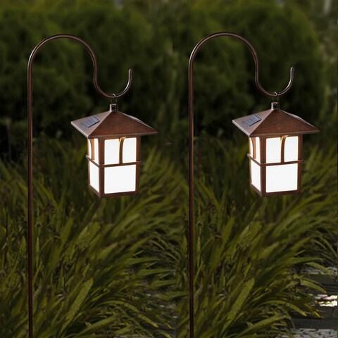 Set of 2 Pagoda Hanging Solar Lanterns with Shepherd's Hooks