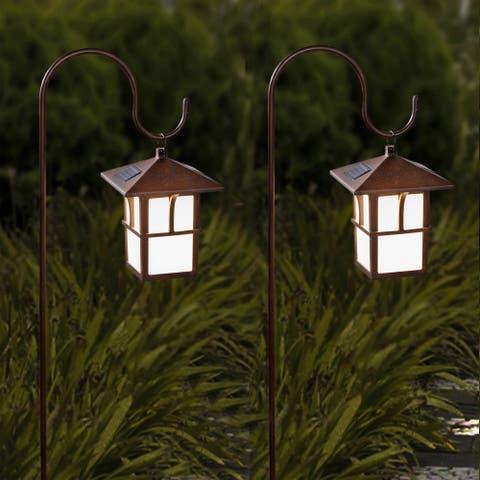 Set Of 2 Paa Hanging Solar Lanterns With Shepherd S Hooks