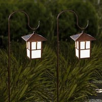 Set of 2 Pagoda Hanging Solar Lanterns with Shepherd's Hooks
