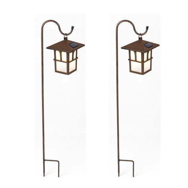 Set Of 2 Pagoda Hanging Solar Lanterns With Shepherd S