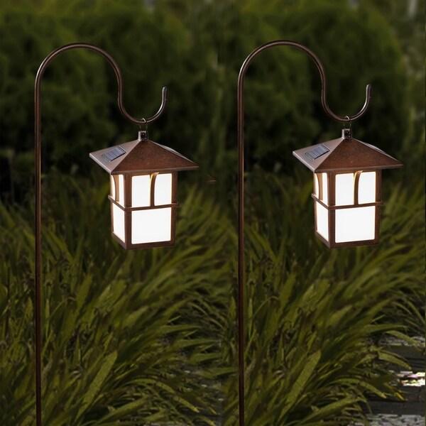 Outdoor Solar Lanterns Hanging: Shop Set Of 2 Pagoda Hanging Solar Lanterns With Shepherd