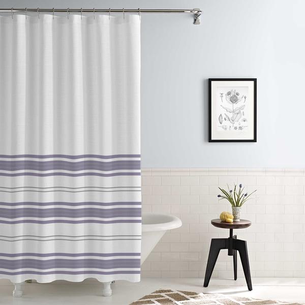 Amrapur Overseas Waterproof Racer Stripe Printed Shower Curtain