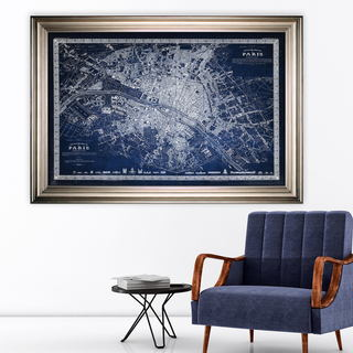Vintage Paris Map Outline Blue -Silver Frame