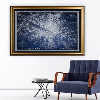 Vintage Paris Map Outline Blue - Gold Frame