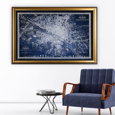 Vintage Paris Map Outline Blue - Gold Frame