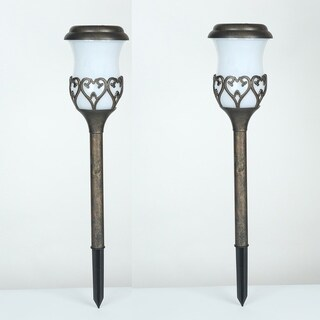 Set of 2 Scroll Design Solar Pathway Lights