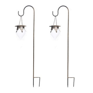 Set of 2 Hanging Cone Shaped Solar Lights with Shepherd's hook