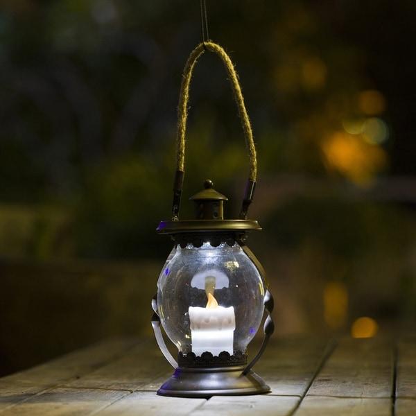 Shop Hanging Hurricane Lantern With Candle Solar Light