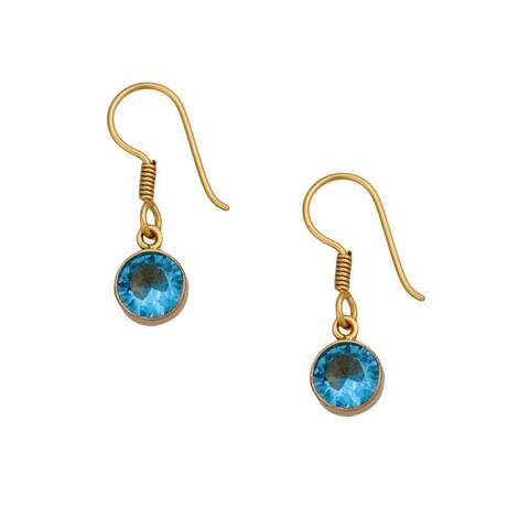 Handmade Alchemia Blue Topaz Drop Earrings (Mexico)