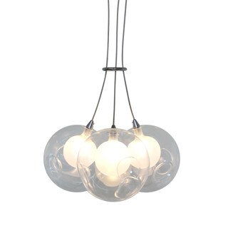 Ara 3-Light Glass Sphere Rectangular LED Chandelier