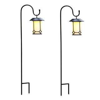 Set of 2 Classical Hanging Solar Lanterns with Shepherds Hooks