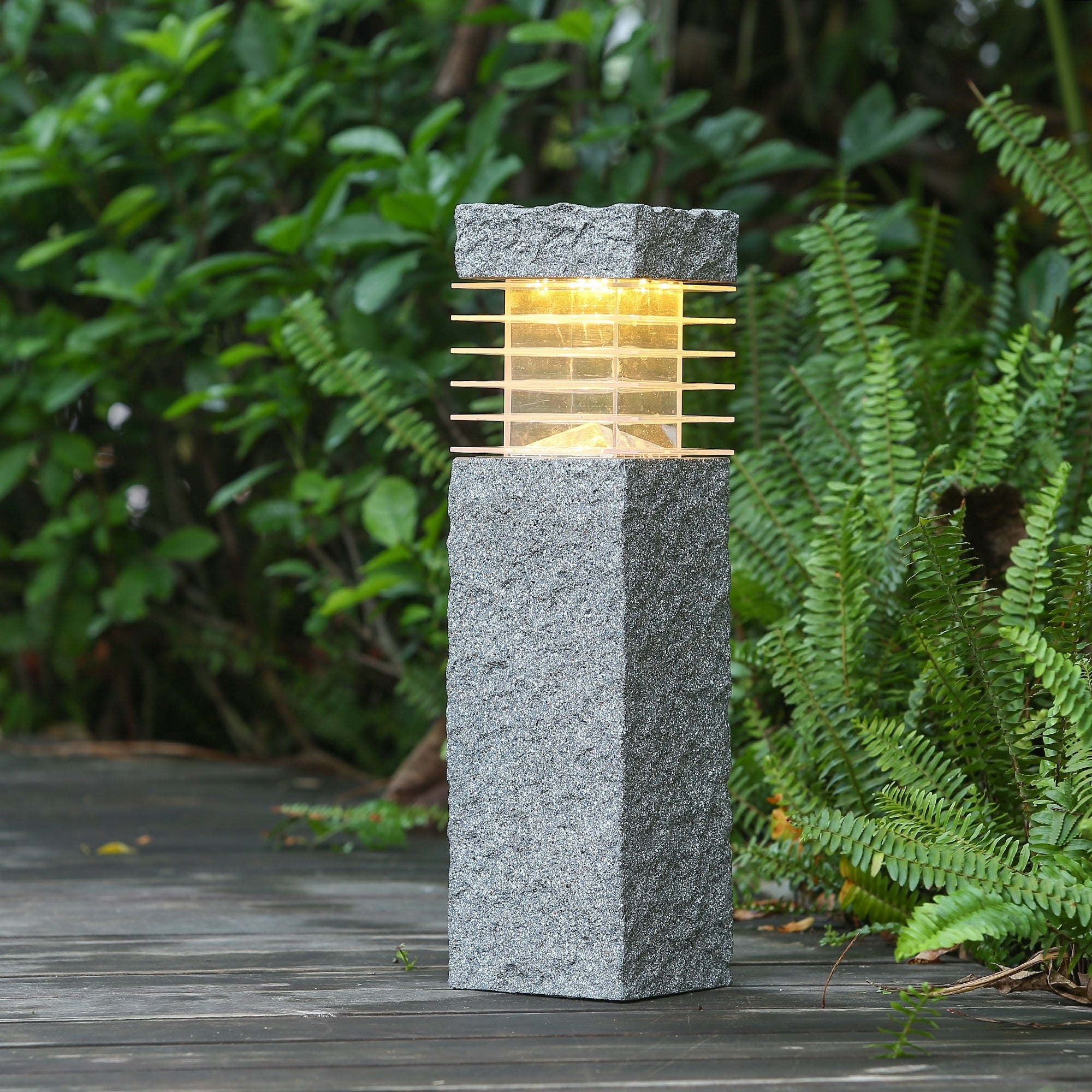 Faux Rock Post with Solar Light (SEE Product Dimensions),...