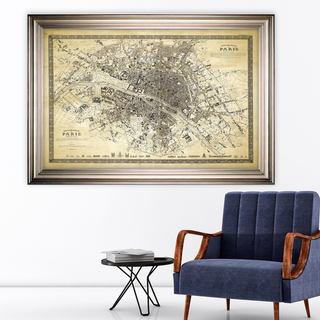 Vintage Paris Map Outline II -Silver Frame