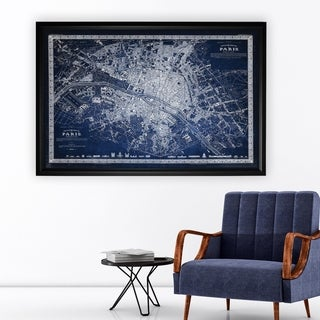 Vintage Paris Map Outline Blue - Black Frame