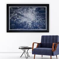 Vintage Paris Map Outline Blue - Black Frame