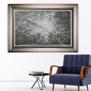 Vintage Paris Map Outline Grey -Silver Frame