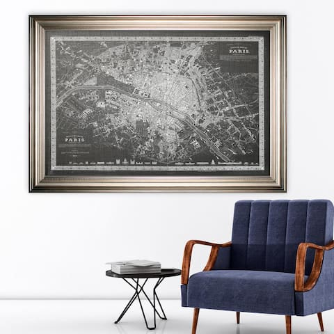 Vintage Paris Map Outline Grey -Silver Frame