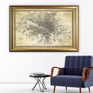 Vintage Paris Map Outline II - Gold Frame