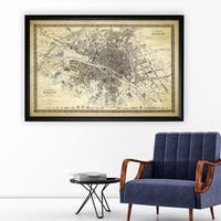 Vintage Paris Map Outline II - Black Frame