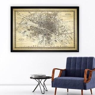 Vintage Paris Map Outline II - Black Frame