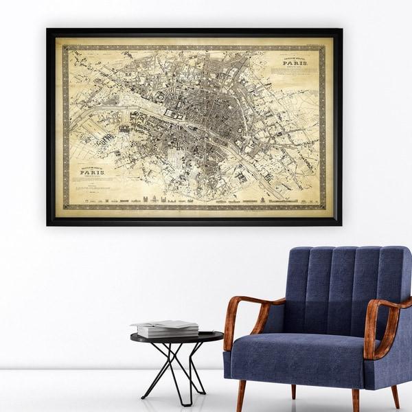 Vintage Paris Map Outline II - Black Frame. Opens flyout.