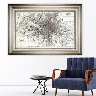Vintage Paris Map Outline -Silver Frame
