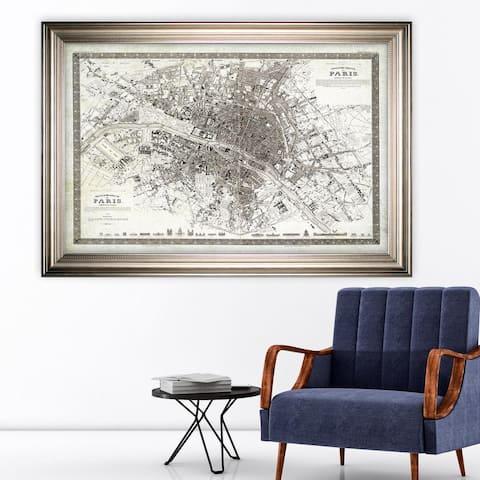 Vintage Paris Map Outline -Silver Frame