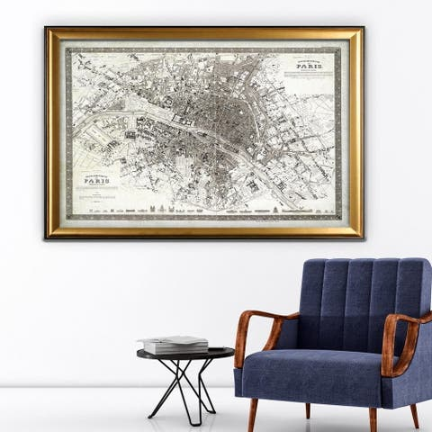 Vintage Paris Map Outline - Gold Frame