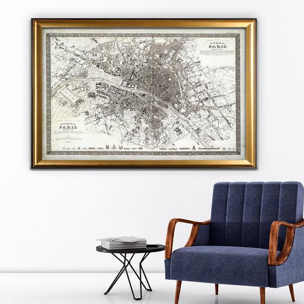 Vintage Paris Map Outline - Gold Frame