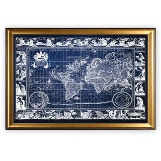 Vintage Wold Map VIIII Blue - Gold Frame