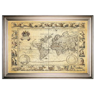 Vintage Wold Map VIIII Antique -Silver Frame