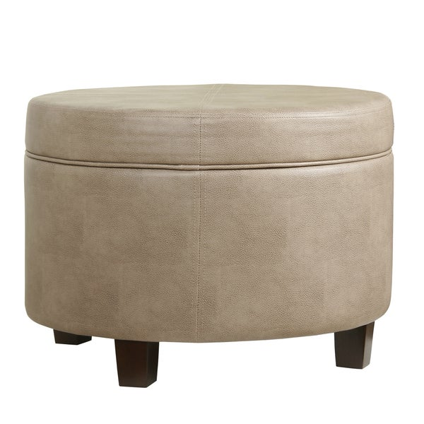 shop homepop round faux leather storage ottoman taupe on sale free shipping today. Black Bedroom Furniture Sets. Home Design Ideas