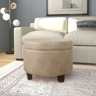 Winston Large Round Button Top Storage Ottoman Free