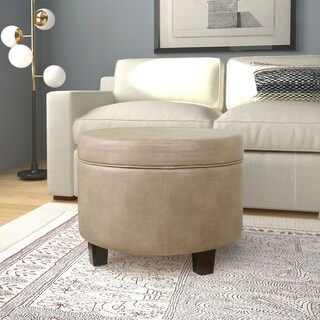 HomePop Round Faux Leather Storage Ottoman - Taupe