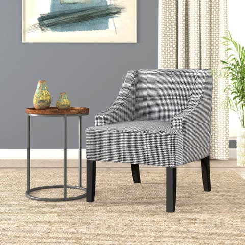 Copper Grove Boulogne Classic Swoop Chair with Ebony Houndstooth Fabric Upholstery